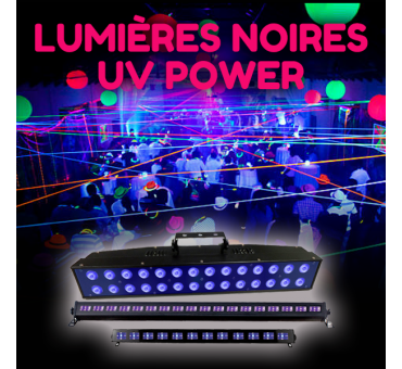 Lumière noire LED UV Power : 12 à 24 LEDs de 3 Watts