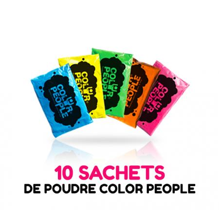10 sachets de POUDRE HOLI COLOR PEOPLE