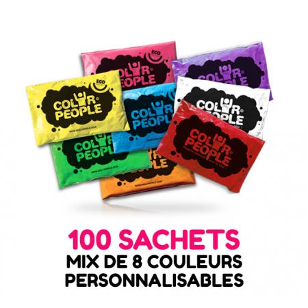 100 sachets de POUDRE HOLI COLOR PEOPLE