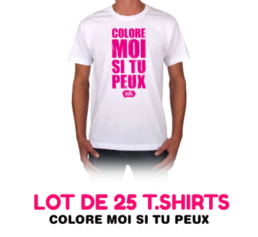 Lot de 25 t-shirts COLORE MOI SI TU PEUX !