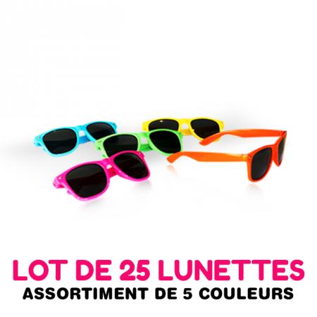 25 lunettes de soleil, assortiment de 5 couleurs