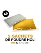 5 sachets de poudre Holi OR ou ARGENT