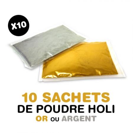 10 sachets de poudre Holi OR ou ARGENT