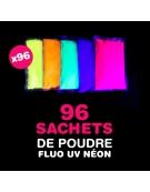 96 sachets de Poudre FLUO UV NEON